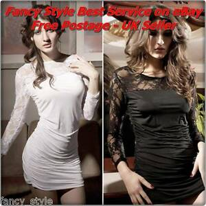 LADIES / WOMEN'S sexy GOGO style BLACK or WHITE Fitted Fashion Mini DRESS party