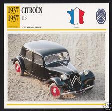 1937-1957 Citroen 11B 11-B Car Photo Spec Sheet Info Stat French Atlas Card