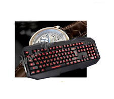 USB Wired Red LED Ergonomic Illuminated Backlight Gaming Keyboard For PC Laptop