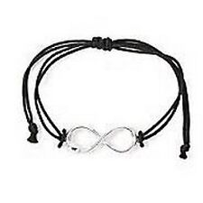 Hello Kitty Silver Infinity Symbol and Black Cord Bracelet - NWT