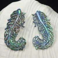 Multicolor Paua Abalone Shell Iridescent Carved Bird Feather Earring Pair 3.36 g