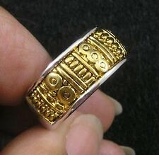Gold Imit Rhodium Plated Brass Wide Finger Ring size 8 Geometric Aztec Style