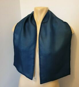 Double Sided Two Toned Plain Blue  Vintage Silk Scarf by Manijeh