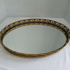 "Gorgeous Heavy Ornate Gold Gilt Cherubs/Flowers Oval Mirror Vanity Tray 17""x13"""