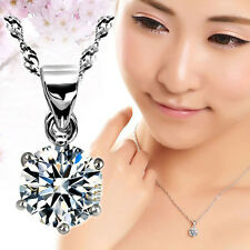 Silver plated Six Claw Rhinestone Single Pendant Necklace Valentine's Gift