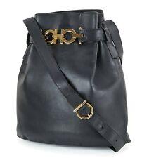 Auth SALVATORE FERRAGAMO Gancini Black Leather Shoulder Bag Purse #17456