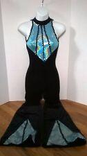 Leo's Dance Wear Black Velvet with Aqua Blue/Silver Accent Jumpsuit size LC