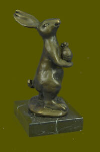 Signed Genuine Milo Bunny W. Basket of Candy Bronze Art Decor Sculpture Figure
