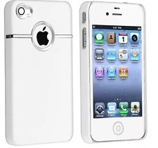 Deluxe w/chrome Rubberized Snap-on Hard Skin Back Cover Case for iPhone 4/4S