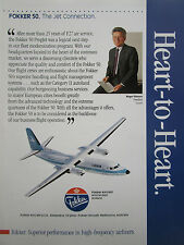 11/1990 PUB FOKKER AIRCRAFT FOKKER 50 LUXAIR ROGER SIETZEN ORIGINAL AD