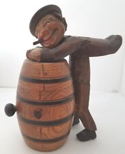 Anri Hand Carved Wood Cigarette / Match Box - Man Leaning Over Barrel - Italy