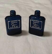 2 Oscar de la Renta Pour Lui Miniature Perfume Bottles in Cobalt - For Men