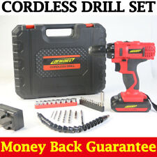 21V Cordless Combi Drill Driver Electric Screwdriver LED Worklight Dual-Speed