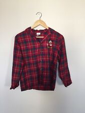 Disney Store Boys Plaid Shirt Pajama Top Embroidered Mickey Mouse Red Size 10