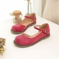 Casual Womens Flats Oxfords Buck Strap Mary Janes Creepers Retro Shoes Plus Size