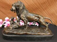 Vintage Victorian Bronze Repousse LION with Cubs  Desk Top Trophy Sculpture DEAL