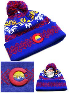 Colorado New Zephyr State Flag Cuffed Toque Pom Blue Gold Red Era Beanie Hat Cap