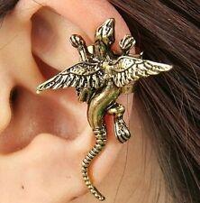 Mythical Bronze Winged Dragon Lizard Ear Cuff Clip Metal Earring Wrap Cartilage