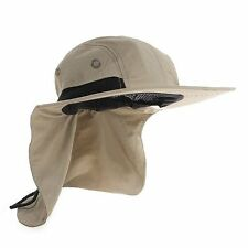 Men's Women Camping Outdoor Hiking Sun Protection Hat With Neck Cover Flap Khaki