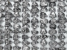 Wholesale lots 50pcs skull carved biker men Tibet silver P rings 17-20mm FREE