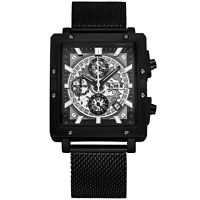 Men's Fashion Chronograph Quartz Watch Stainless Steel Mesh Band Black&White