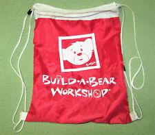 Build A Bear Nylon Backpack Adjustable Tote Drawstring Bag Red White Mesh Sac