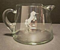 Vintage Hand Blown Glass Bar Ware Pitcher Unicorn Design Applied Handle