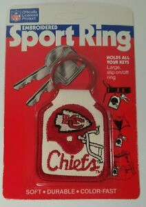 Vintage 1987 Kansas City Chiefs Football Embroidered Sport Key Ring Keychain