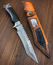 COLLECTIBLE DAMASCUS HUNTING KNIFE BOWIE SURVIVAL FIXED BLADE HAND-CARVED WOLF
