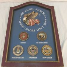 1989 Military GOD BLESS AMERICA USMC, USN, ARMY, USCG USAF SIGN ART RECRUITING