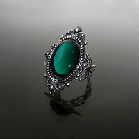 Victorian gothic ring Emerald green filigree silver steampunk wedding SINISTRA