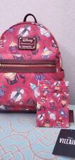 Disney Villains Perfume Bottles Loungefly Bag Mini Backpack W/ Wallet NWT