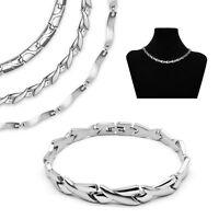 zeitloses Set Edelstahl Collier und Armband Kette Halskette silber matt glänzend