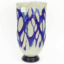 GlassOfVenice Murano Glass Silver Vase - Blue Web