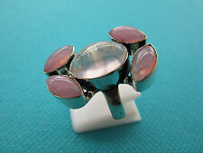 Silver Ring With Natural Pink Quartz And Pink Chalcedony Size P US 7.75 (rg2594)