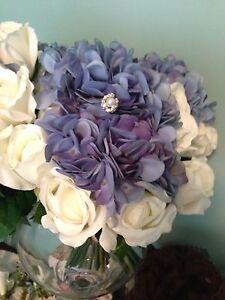 Lot 5 NEW wedding blue white Roses Hydrangea bouquet bridesmaids centerpiece