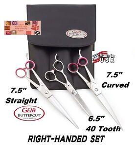"Geib GATOR Buttercut SHEAR Scissor SET-THINNING 7.5""STRAIGHT&CURVED Pet Grooming"