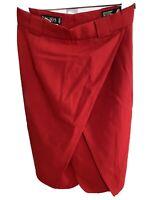 ESCADA red wool pencil skirt 38 knee length high waist