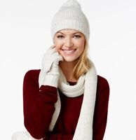 CHARTER CLUB DONEGAL 3-PIECE GIFT SET IVORY WOMENS ONE SIZE HAT SCARF AND GLOVES