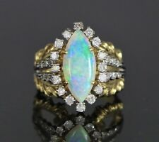 Vintage Rare 18K Yellow Gold & Platinum Marquise Fire Opal Diamond Cocktail Ring
