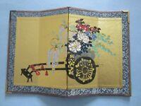 "Early Vintage Japanese Miniature Dollhouse 4 Panel Folding Screen 7 x10 1/2"""