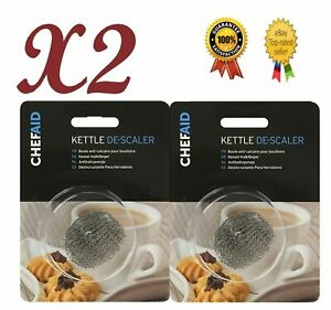 2 X Chef Aid Kettle Limescale Descaler Steel Wire Fur Collector Remover Cleaner