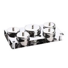 5 Stainless Steel Barber Salon Manicurist Tools Sanitizing Disinfecting Jars
