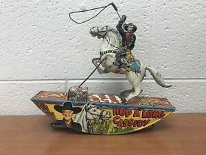 ANTIQUE MARX HOP A'LONG CASSIDY WIND-UP TIN LITHO TOY COWBOY