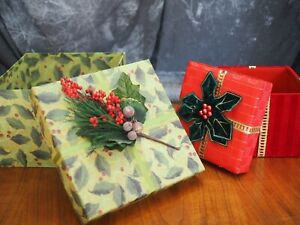 """Lot of 2 Boxes 1 is Lindy Bowman Christmas Holiday Gift Boxes 10"""" and 7 1/2"""""""