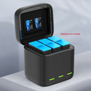 For Hero 9 Black Action Camera 3 Batteries Smart Quick Charger Box Storage Case