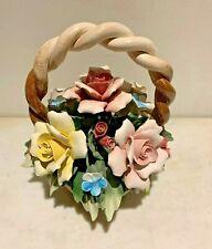 Vintage marked CAPODIMONTE Italian Centerpiece majolica flower bouquet ,NO chips
