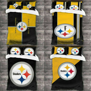 Pittsburgh Steelers Bedding Set 3PCS Soft Duvet Quilt Cover Pillowcases US Size