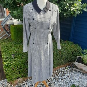 Vintage Womens St Michael M&S 1980's Dogtooth Check Dress Size 12 Tailored Midi