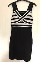 Melrose Black & White Bodycon Dress Size 6 Stretch Jersey Stripes Sleeveless